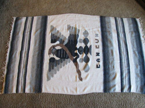 """Vtg Woven 43""""x 73"""" Cancun Tapestry Throw Blanket w/Fringed Ends, Phoenix Design"""