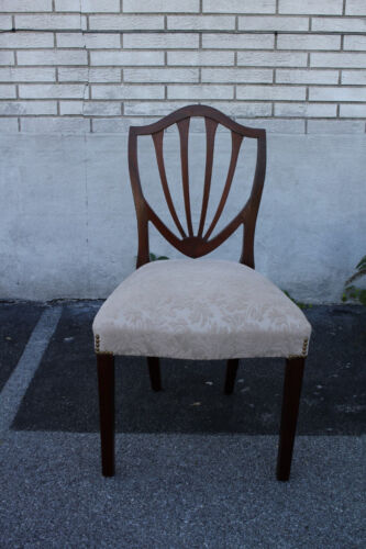 19th C. English Hepplewhite Mahogany Side, End, Accent Chair, New Upholstery
