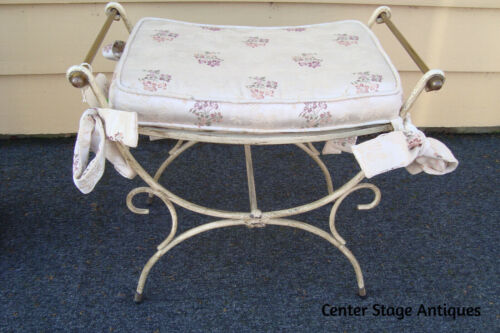 45080 Decorator Brass and Iron Vanity Bench Stool Chair
