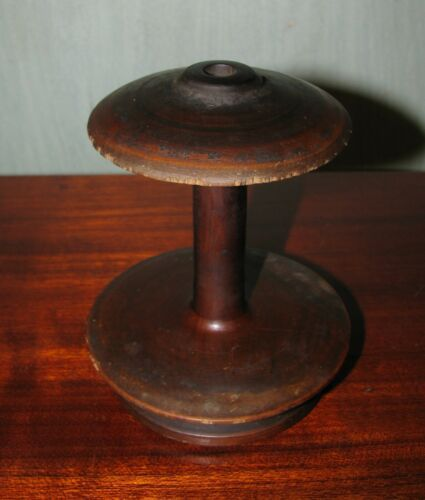 Antique primitive wooden wood spinning wheel spool Lithuania Europe
