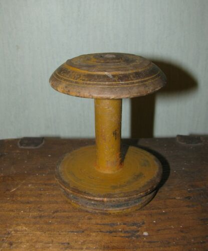 Antique primitive wooden wood old paint spinning wheel spool Lithuania Europe