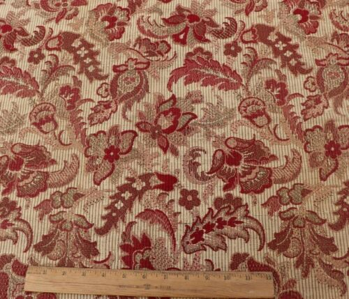 Antique 19thC French Christmas Red & Cream Indienne Style Jacquard Fabric~27X23