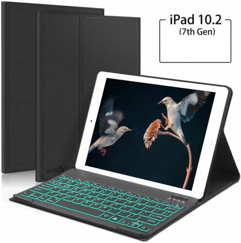 For iPad 10.2 7th Gen 2019 Case Cover Stand with Detachable Bluetooth Keyboard