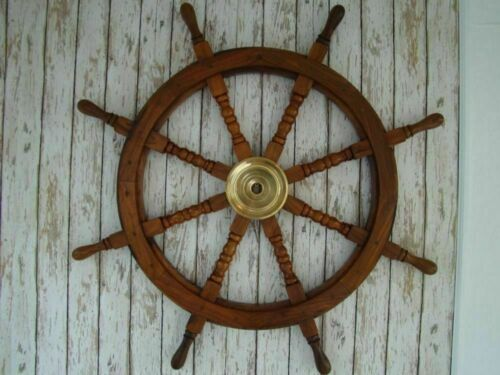 """36"""" Large Boat Ship Wooden Steering Wheel Brass Center Nautical Wall Decor sTYLE"""
