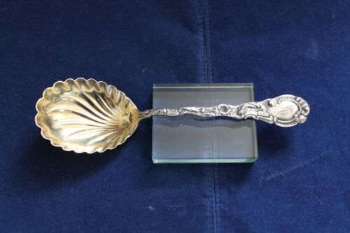 Durgin Louis XV Sterling Silver Gold Washed Scalloped Bowl Serving Spoon 8 3/4""