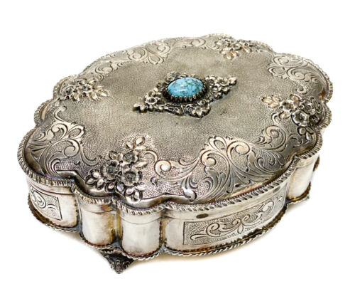 Italian 800 Silver Turquoise Mounted Jewelry Box by Ganci Carmelo