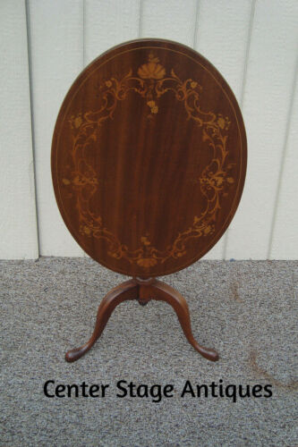 59357   RARE QUALITY  Antique Inlaid Tilt Top Lamp Table Stand