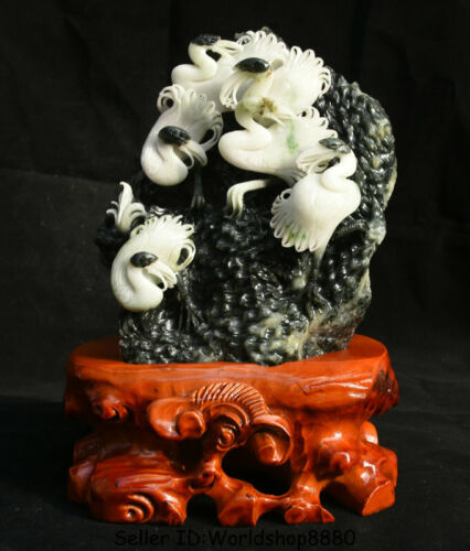 """11.2"""" Chinese Natural Dushan Jade Carved Animal red-crowned crane Birds Statue"""