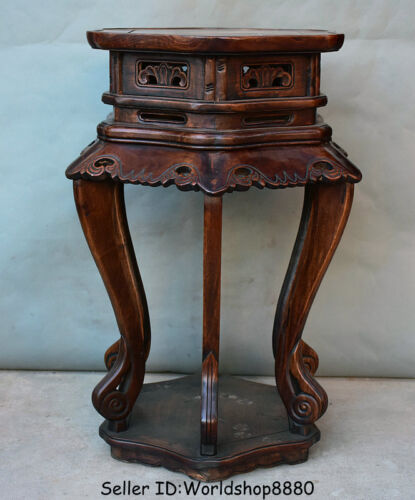 """28.4"""" Old Chinese Huanghuali Wood Dynasty Flower stand Shelf Antique Furniture"""