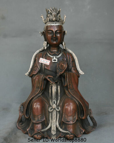 """11.2"""" Old Chinese Red Copper Folk legend Queen Mother Goddess of Heaven Statue"""