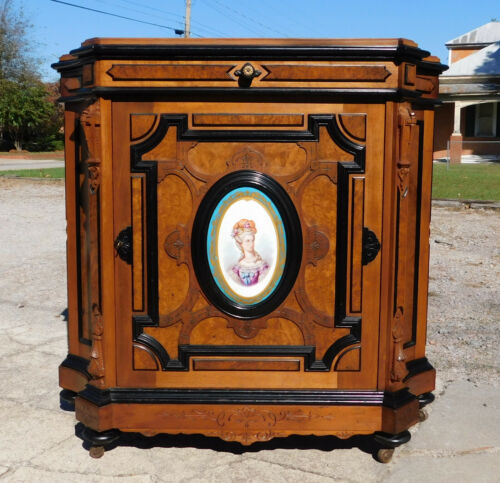 Fantastic Walnut Victorian Credenza with Hand Painted on Porcelain Plaque