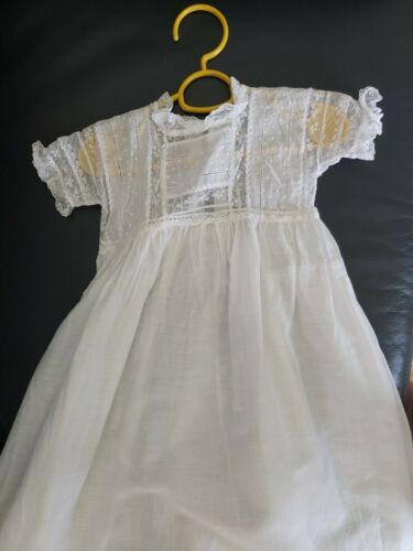 Antique Victorian White Cotton and Lace Baby Dress / Christening Gown VGC