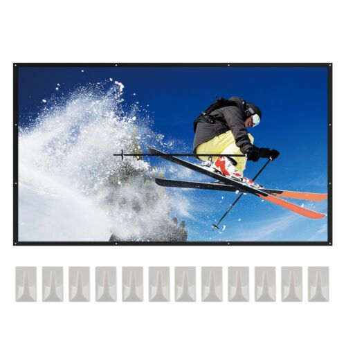 VonHaus 100-Inch Fold Up Projector Screen - 16:9 Aspect Ratio with HD & 4K <br/> For Indoor/Outdoor projection - Wall or Ceiling Mount