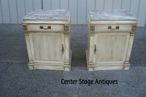 60588  Pair Marble Top Romantic Shabby Nightstand End Table Stand s