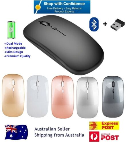 Wireless Bluetooth 5.1 Dual-Mode Slim Rechargeable Mouse for Laptop Mac iPad