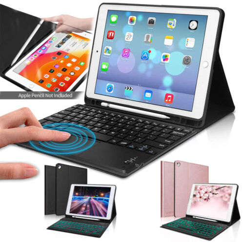 For iPad 7th 8th Gen 10.2 2020 Bluetooth Keyboard Case Cover with Pencil Holder