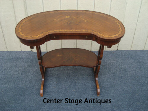 61368  INLAID Kidney Console Lamp Table Stand RARE Find Quality