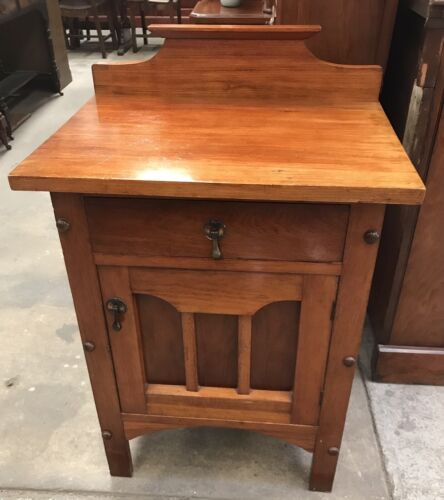 Antique Edwardian Blackwood Large Bedside Table Cabinet Cupboard