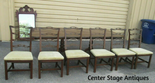 """57178   ETHAN ALLEN Dining Table with 6 Chairs Table Top 102"""" x 42"""""""