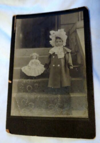 Antique Cabinet Photo of Young Girl & Her Doll on Stairs