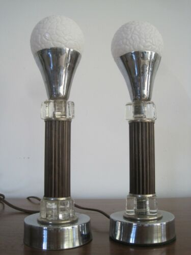 Pair Rare Antique Art Deco Bed Table Lamps Hollywood Regency Machine Age