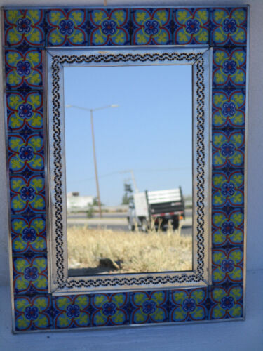"""PUNCHED TIN MIRROR with mixed talavera tile mexican folk art 12"""" X 16"""""""
