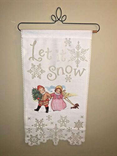 VICTORIAN Boy Girl Let It Snow Lace Embroidery Bell Pull Dachshund 24x13 ❤️tw11j