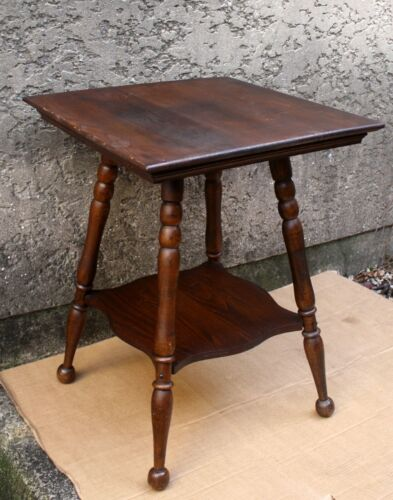 Antique Vintage Old Chestnut Wood Wooden Coffee Side End Accent Lamp Table Stand