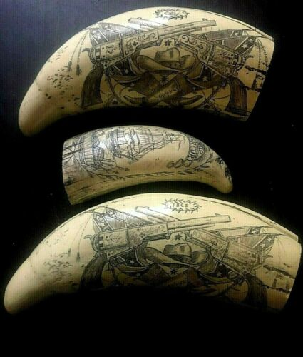 SET OF THREE SCRIMSHAW REPRODUCTION WHALE TEETH SAVE BIG TIME ON SHIPPING!!