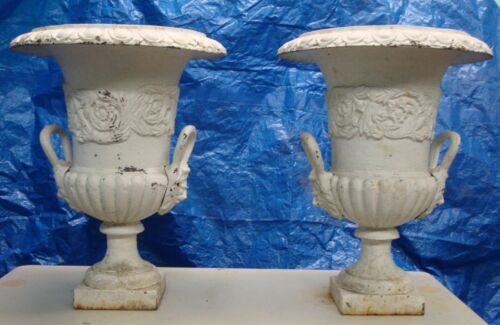 "VINTAGE ANTIQUE CAST IRON URNS 25"" TALL FLOWER POTS 2 PCS.  (A)"