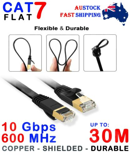 Network Lan CAT7 RJ45 Cord Ethernet Flat Shielded Cable Patch Lead
