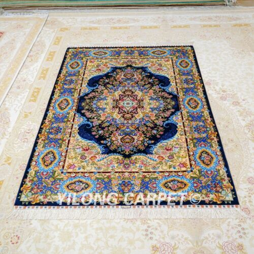 Yilong 4'x6' Blue Silk Flowers Area Rugs Handmade Carpets Hand knotted Z517A