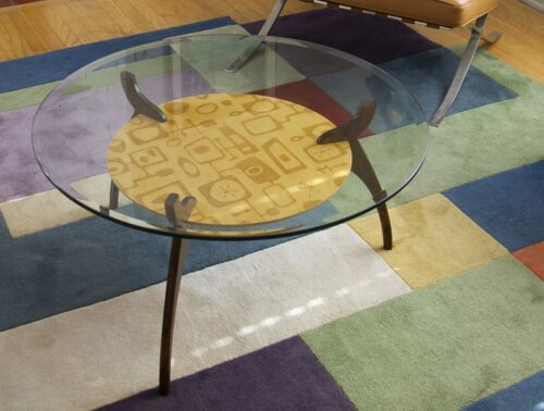 Mid Century Modern Round Glass Coffee Table with Googie Pattern
