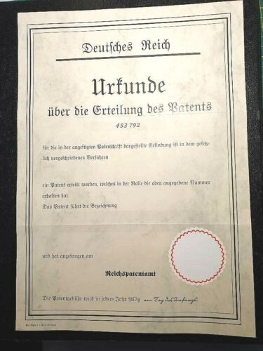 YOUR name German Patent Certificate Document Deed Germany V1 Missile Flip scriptGermany - 156432