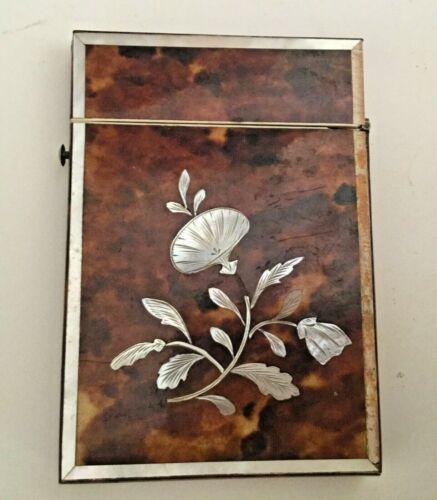 Antique Faux Tortoise and Mother of Pearl Card Case