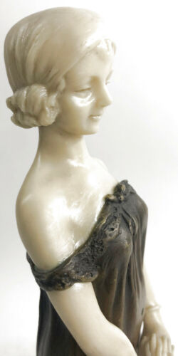 "Victorian Girl"" Pure American Bronze Statue Sculpture Inspired by D.H Chiparus"