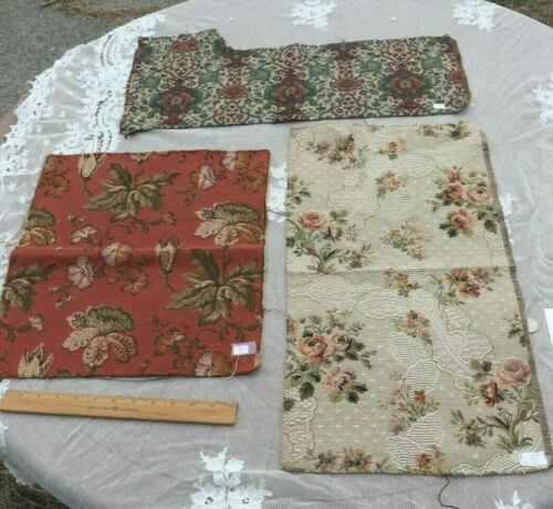 3 French Antique Tapestry Fabric Samples c1890-1910