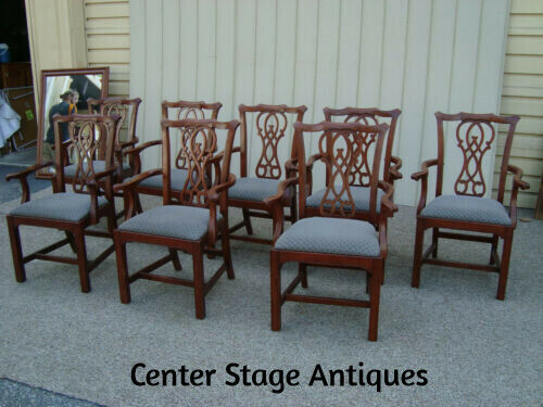 60147  Set 8 Solid Mahogany BERNHARDT Armchair Chairs QUALITY