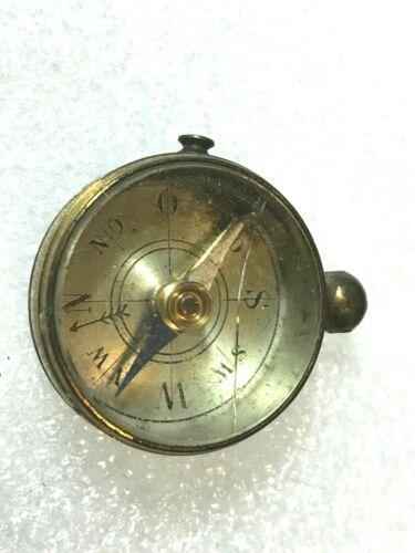 """Vintage Brass & Glass Compass Can be Put on Chain Has Butten to stop it 1 1/4"""""""