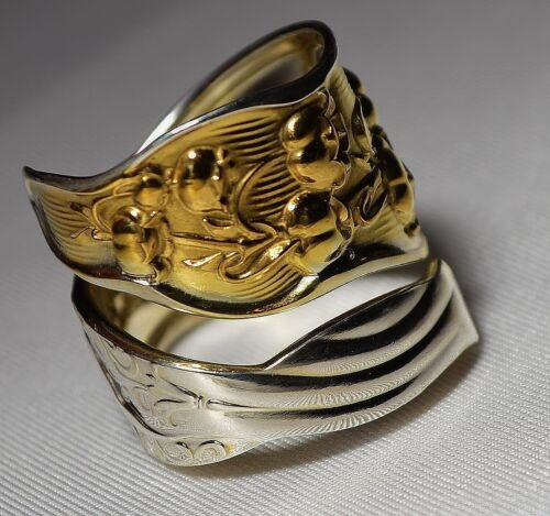 Whiting LILY of the VALLEY Sterling & 14k Gold TWO TONE Spoon Ring Sz 7 Free S/H
