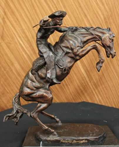 LARGE Frederick Remington Bronze Sculpture Bronco Buster on Marble Stand  Decor