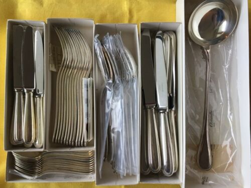 PERLES LOUIS XVI CHRISTOFLE Dinner SET Forks Spoons Knives Silver plated