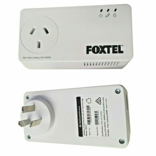 Netcomm NP511 500Mbps Powerline Kit x2 AC Pass-Through FOXTEL Branded Brand New