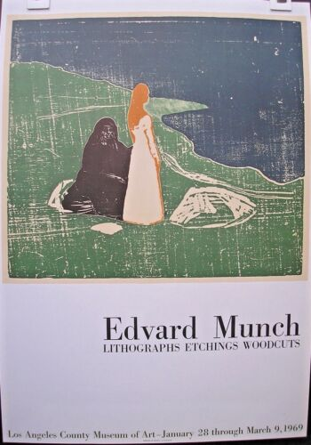 vintage poster Edvard Munch Los Angeles exhibition printed by Mourlot 1969