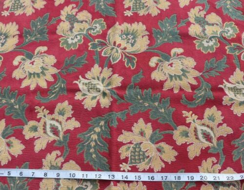 """French Vintage c1940-1950 Jacobean Floral Style Jacquard Tapestry Fabric~20""""X25"""""""
