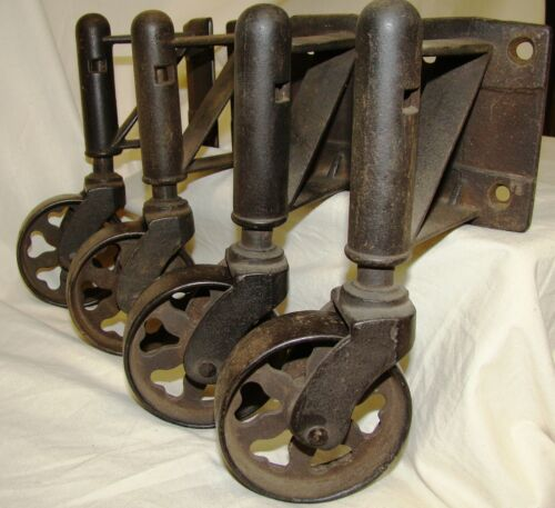 Antique  Vintage Heart Spoked wheel  Industrial Cast Iron Casters 3 inch wheels