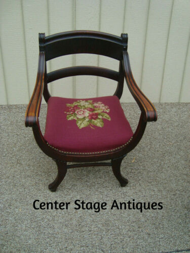 60119 Antique Mahogany Accent Chair with HAND MADE  Needlepoint Seat