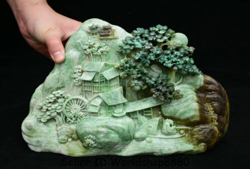 "10.4"" Natural Dushan Green Jade Carved Old Man Boat House Water Mountain Statue"