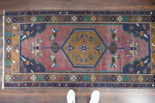 Turkish Rug,Vintage Oushak Rug Handwoven,Wool Antique Carpet 3'5x7'3 ft