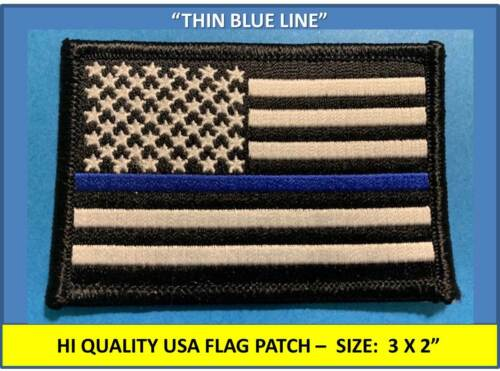 """THIN BLUE LINE USA AMERICAN FLAG EMBROIDERED PATCH TACTICAL FLAG (3.5 x 2.25"""")Patches - 113337"""
